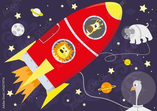 Naklejka ilustracji wektorowych z czerwonej rakiety ze zwierzętami