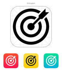 Darts target aim icon. Successful shoot.