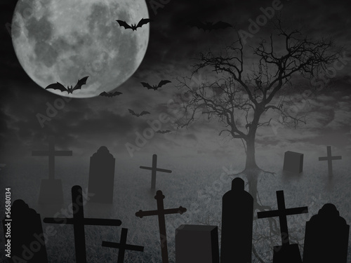 Halloween background with grave.
