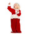 Female Santa pointing something