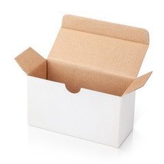 Open blank carton box isolated on white with clipping path
