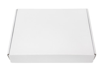 Closed blank carton pizza box on white with clipping path