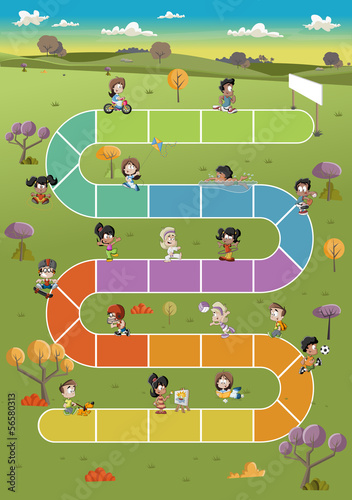 Board game with happy cartoon children playing on the park