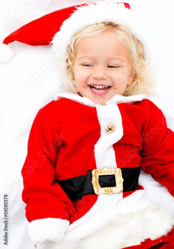 Girl playing Santa