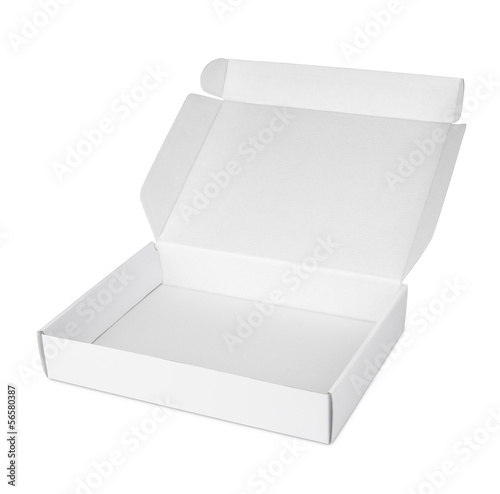 Leinwanddruck Bild Open blank carton pizza box isolated on white with clipping path