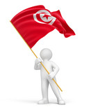 Man and Tunisia flag (clipping path included)