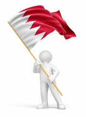 Man and Bahrain flag (clipping path included)