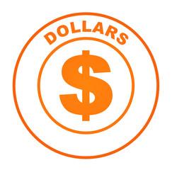 dollars sur bouton web orange
