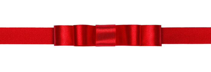 Decorative red ribbon isolated on white background