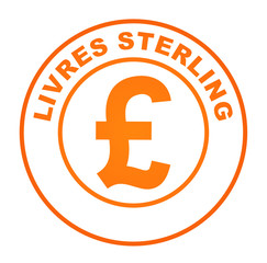 livres sterling sur bouton web orange