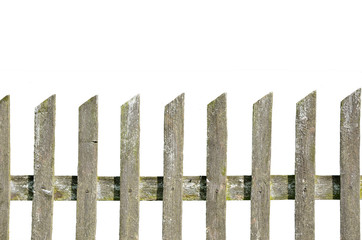 old wooden fence on the white background