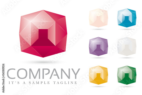 Diamonds and jewels company logo set