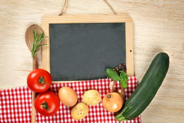 Schild mit Gemüse