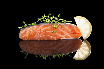 Raw salmon steak.