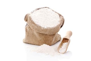 Flour in burlap bag.