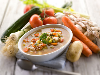 soup vegetable with ingredients,  selective focus