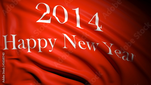 Happy new year 2014 written on red waving flag