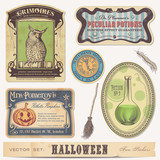 set of halloween stickers/labels and design elements