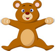 Happy brown bear cartoon jumping