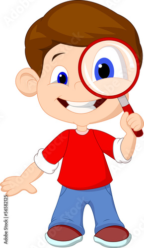 Illustration of a boy and a magnifier