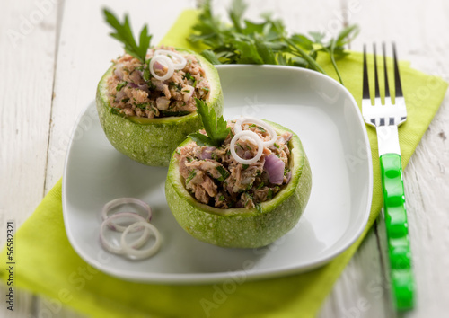 zucchinis stuffed with tuna and onions, selective focus