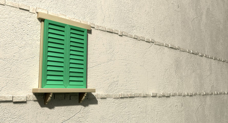 Window With Closed Green Shutters Perspective