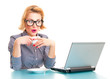 Funny surprised business woman watching in laptop