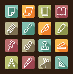 Stationery and office icons