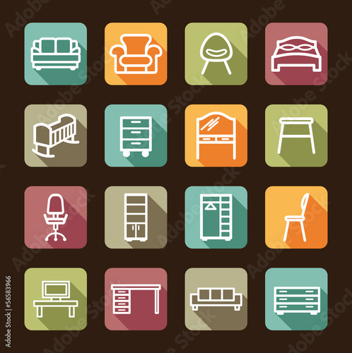 Colour buttons with furniture icons