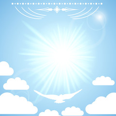 Vector background with the sun in the blue sky