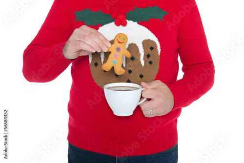 Christmas jumper and gingerbread man.