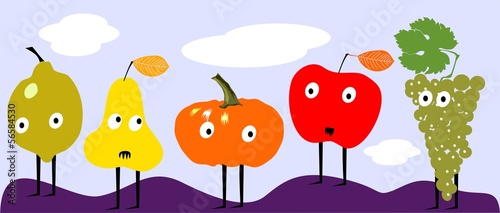 Funny autumn fruits
