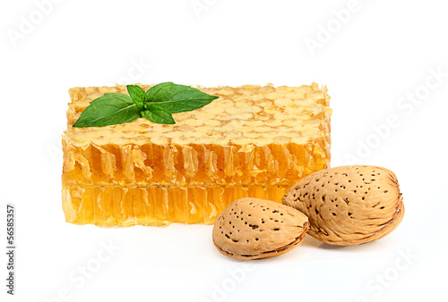 Honey in the comb with almonds and a sprig of mint