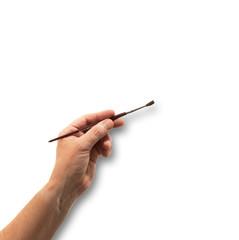mano con pennello in fondo bianco