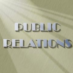 Public relations inscription illuminated with diagonal light