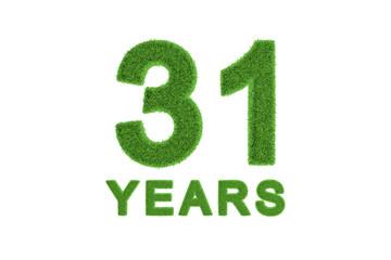 31 Years green grass anniversary numbers