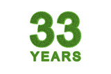 33 Years green grass anniversary numbers