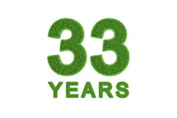 33 Years green grass anniversary numbers