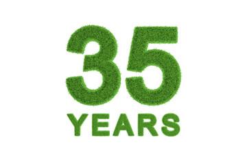 35 Years green grass anniversary numbers