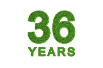 36 Years green grass anniversary numbers