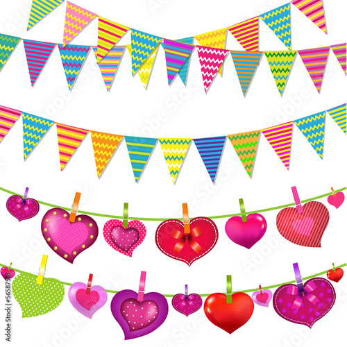 Garlands With Bunting Flags And Hearts