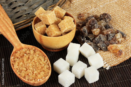 Different types of sugar on table close-up