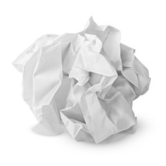 Crumpled paper ball isolated on white with clipping path