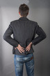 young businessman with back pain
