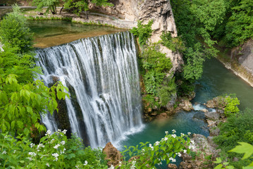 The magnificent waterfall in Jajce, Bosnia and Herzegovina