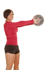 fitness medicine ball red shirt hold smile
