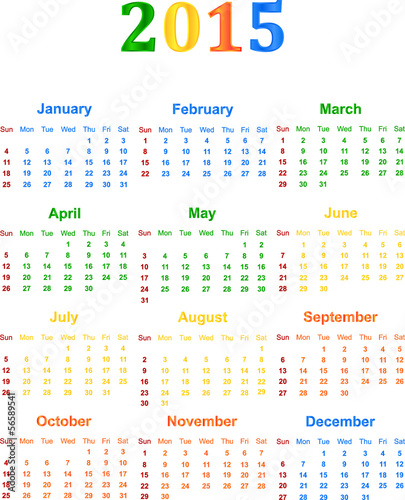 2015 Calendar With Season Specific Colors