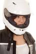woman biker helmet look side
