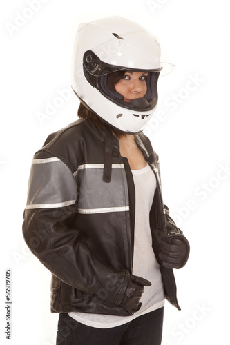 woman biker helmet look gloves