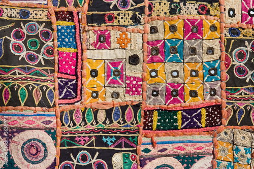 Antique indian stitched fabric pattern